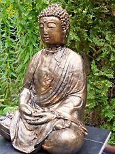 Neu Buddha-Old Style-Skulptur-38cm-Steinguss-Bronzefarben-Frostfest-Garten Figur