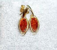 Zoria's Baltic Amber Earrings-Cognac-925 Sterling Silver-14K Gold Plated