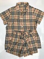 Burberry Womens Pajama Pyjamas Set Blouse Shorts Cotton Beige Nova Size XL