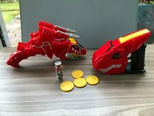 Dino Charge T-Rex Red Morpher + Charger + T-Tex launcher & discs New batteries