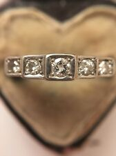 Art Deco 1920s Antique 18ct Yellow Gold And Platinum 5 Stone Diamond Pretty Ring