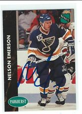 Nelson Emerson Signed 1991/92 Parkhurst Rookie Card #151