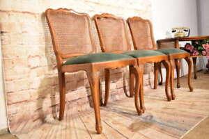 3 elegante Chippendale Stühle Polsterstühle Salonstuhl Rückengeflecht Nussbaum