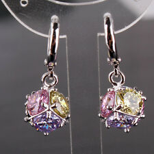 Unique 18k white gold  filled round Multi-colored topaz dangle earring