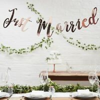 JUST MARRIED BUNTING Rose Gold - Wedding Decoration Banner Bunting Backdrop