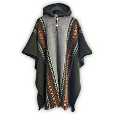 LLAMA WOOL MENS UNISEX SOUTH AMERICAN PONCHO CAPE COAT JACKET EMERALD GREEN