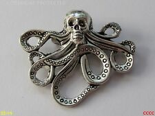 steampunk brooch badge pin silver octopus kraken pirate skull hydra Black sails