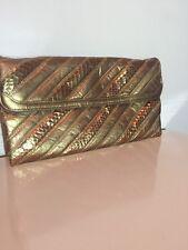 Vintage Oleg Cassini Bronze Snakeskin Leather Clutch with Shoulder Strap