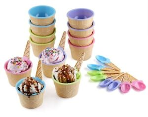 Greenco Vibrant Colors Ice Cream Dessert Bowls and Spoons (Set of 12)