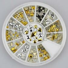 Nail Rhinestones Gems Art Diamante Fashion Glitter Jewels Gold and Silver Shapes