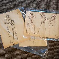 Lot of 3 Western Cowboy Sketches Romance Novel Elaine Gignilliat