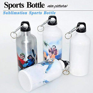 600ml White Blank Aluminum Water Bottle For Sublimation DIY Printing - 10Pcs