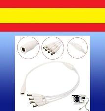 1a4 CABLE DUPLICADOR 12V DC corriente CAMARA SEGURIDAD CCTV jack 2,1 5,5 blanco