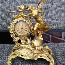 Antique French Bronze Ormolu figural Clock ca1890 H 9""