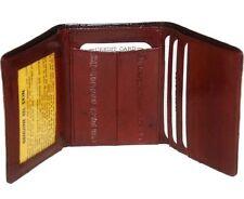 EEL Skin  Mens Burgundy  Wine  Leather Wallet  Tri Fold Genuine Card Holder Soft