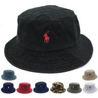 Men Women Classic Bucket Hat Polo Casual  Fisherman Cap Cotton Embroidery S Pony