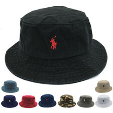 Men Women Classic Bucket Hat Polo Casual  Fisherman Cap Cotton Embroidery S Pony