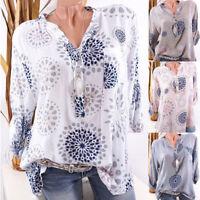 Womens Boho V Neck Tunic Tops Blouse Casual Long Sleeve Loose T-shirt Plus Sizes