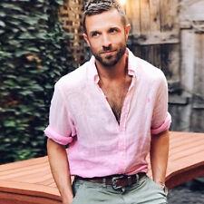 Gb Manga Larga para Hombre Camisa Verano Cool Suelto Informales Cuello en V