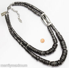 Chico's Signed Necklace Silver Tone Dark Gray Black Stacked Disk Crystal NWT