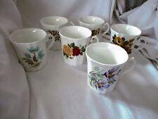 Royal Grafton set 6 bone china coffee mugs asst flowers blue pink yellow England