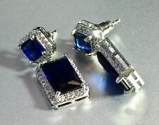18k White Gold Earrings made w/ Swarovski Crystal Sapphire Blue Stone Earrings