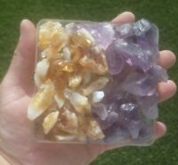 GemFarmer AC: 1/2 Lb Lot Amethyst + Citrine Quartz Rough Crystal Points + Parts