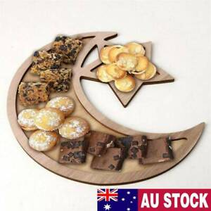 Muslim Wooden Eid Mubarak Ramadan Table Decor Dessert Pastry Serving Tray AU