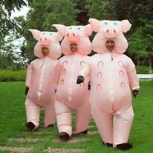 Adult Pink Pig Inflatable Costume Halloween Cosplay Costumes Blow Up Fancy Dress