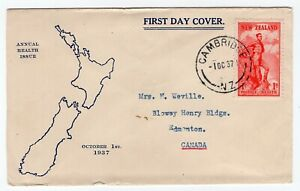 New Zealand 1937 Health Stamp - Cachet FDC Cover - Sent to Edmonton AB Canada
