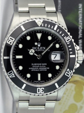 ROLEX - REHAUT Mens 40mm Stainless Submariner Black Index 16610 - SANT BLANC