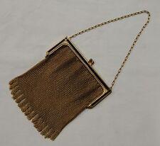 Vintage Purse Whiting & Davis Black Enamel & Gold Mesh Evening Bag With Fringe