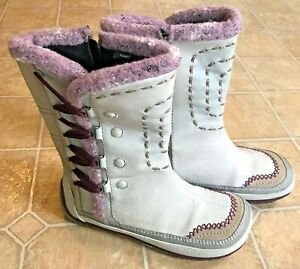 MERRELL size 7 or 38 PUFFIN HIGH LAVENDER white leather boots fleece lined WARM