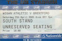 Ticket - Wigan Athletic v Brentford 07.04.01