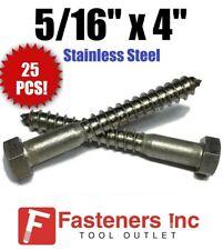 Qty 25 516 X 4 Lag Screws Hex Head Stainless Steel 18 8 304