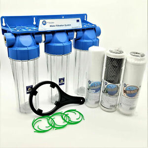 """3 Stage Whole House Water Purifier and Softener Filter Kit Salt Free 1/2"""" BSP"""