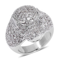 1.00 tcw. Simulated Diamond Panther Head Ring in Silvertone Size 6.0