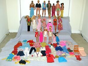 *** LARGE VINTAGE BARBIE KEN 1960's & 1970's DOLL COLLECTION LOT W/ OUTFITS ***