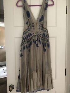 Alberta Ferretti Sheer Halter Navy Tan Silk dress