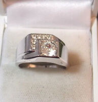 Vintage Mens Vargus 18K White Gold Plated HGE Rhinestone Ring sz 11.5 USA