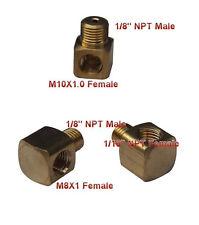 """Pipe & Metric Fitting 1/8"""" NPT Male to M8 M8X1 Female Gauge Meter 90 Deg N-D4"""