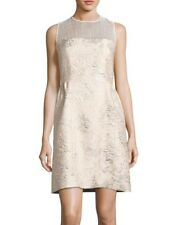 Elie Tahari Winny Women's Dress Size 10 Metallic Gold Jacquard A-Line Cocktail