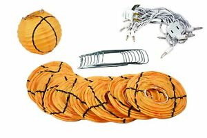 "10 Socket Basketball Sport Paper Lantern Party String Lights (4"" Lanterns, Expan"