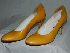 Walter Steiger Mustard Yellow Leather Classic Pumps/Shoes Size 7 Handmade Italy