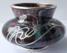 Rare Art Nouveau Vase, Ceramics with Silver Overlay, um 64246.6oz449