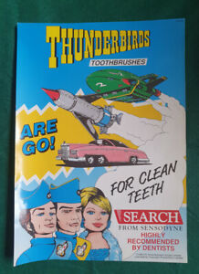 Vintage Sensodyne Thunderbirds Toothbrushes Advertising Poster
