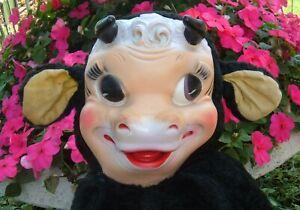 Vintage Bijou Rubber Face Stuffed Plush Cow