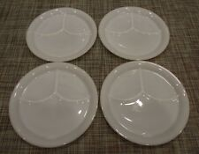 """4 FIRE KING ANCHOR WHITE 3 COMPARTMENT RESTAURANT GRILL PLATES W/TAB 9-5/8"""""""