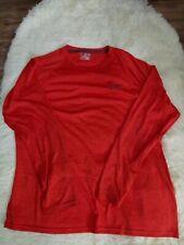 Mens Under Armour Loose Heatgear Long Sleeve Shirt Red Polyester Sz 2Xl
