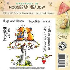 Mushroom Mouse Hugs Unmounted Rubber Stamps MOONBEAM MEADOW MME-ST-HUG-EZ New